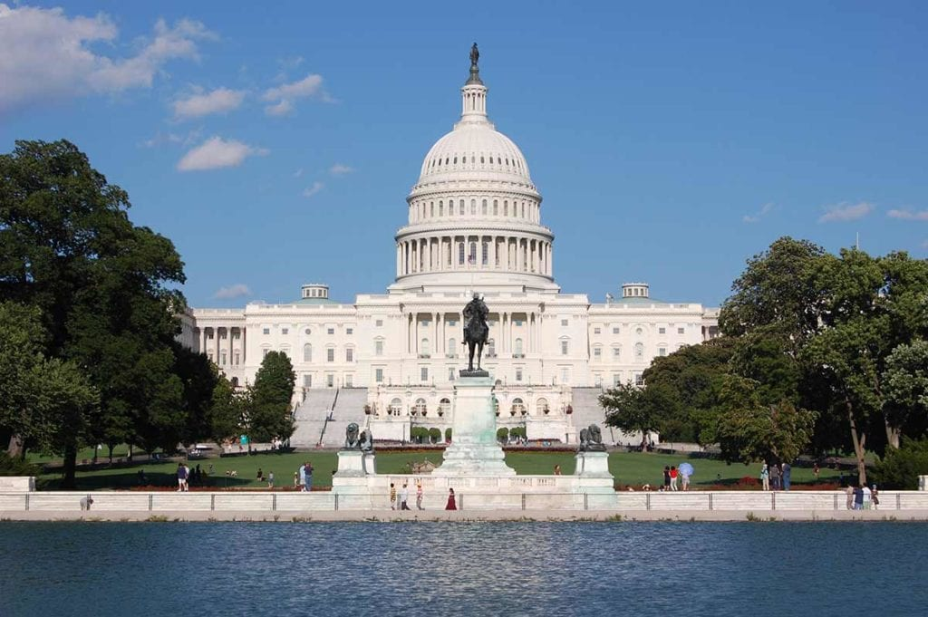 Image of Capitol Hill front from the wading pool view, in Washington DC
