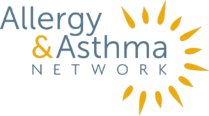 Allergy and Asthma Network Logo in Blue and Yellow
