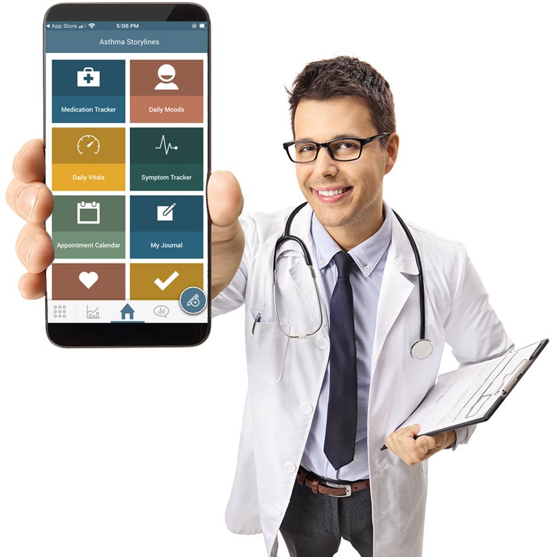 Image of doctor holding up phone towards camera. The phone has the Asthma Storyline app on it.
