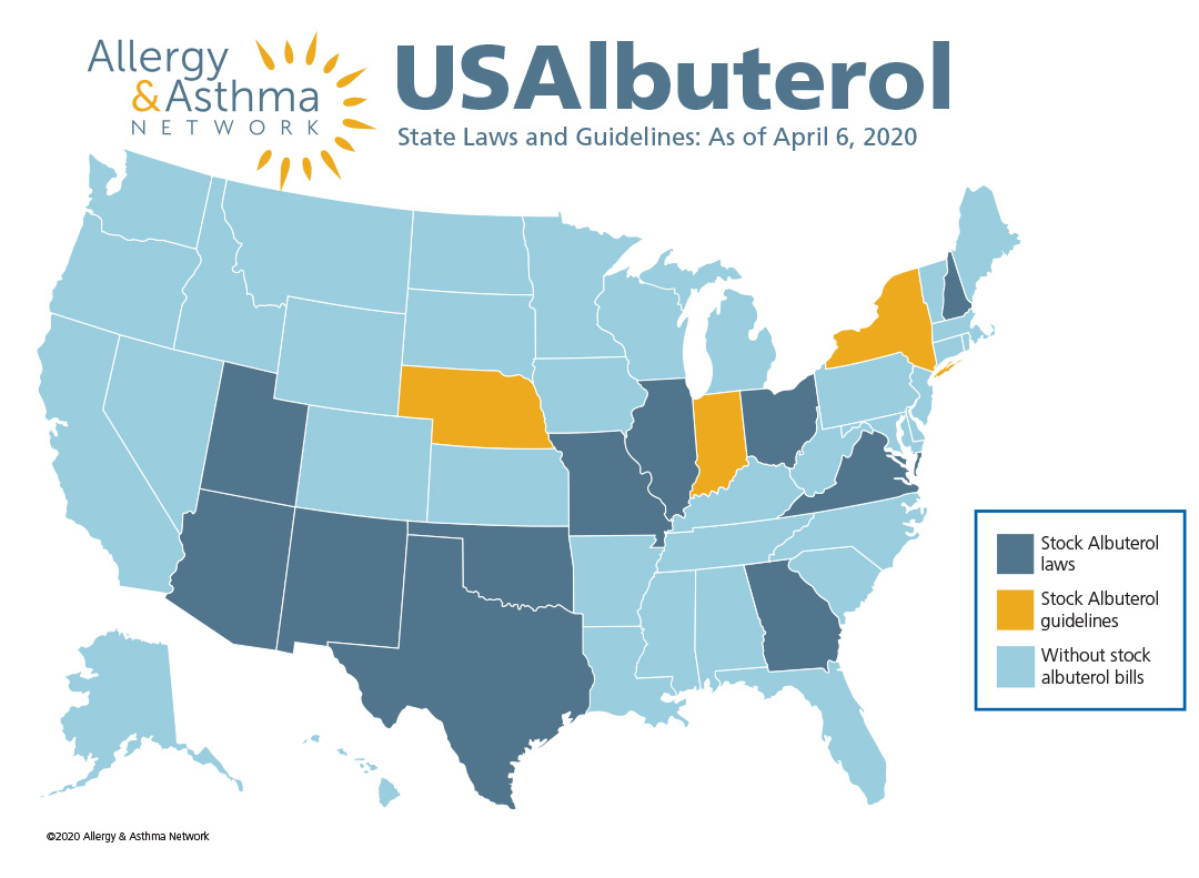 Map of the us with states highlighted as to their status on albuterol laws