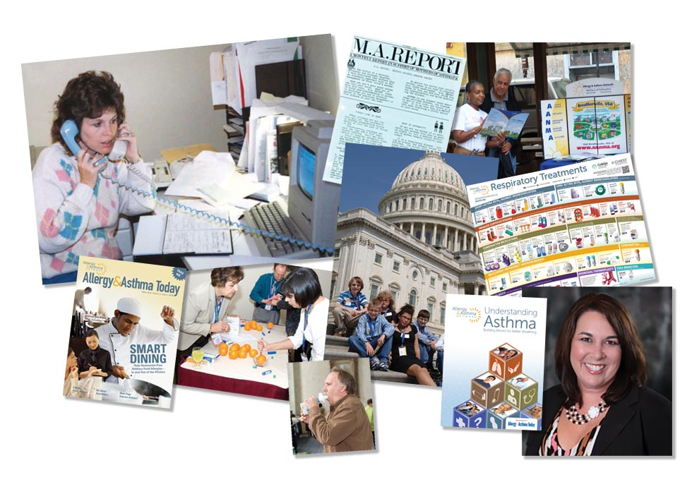Photo collage of Allergy & Asthma Networks programs founder Nancy Sander and current CEO Tonya Winders