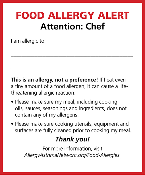 Graphic of a food allergy chef card