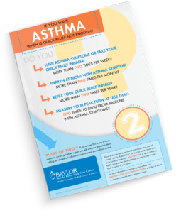 Image of printout of the Rules of Two for Asthma Medication