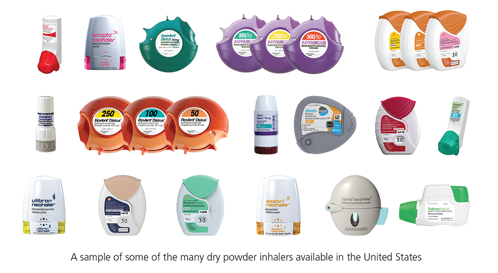 photo of some of the many different types of Dry powder inhalers available in the US