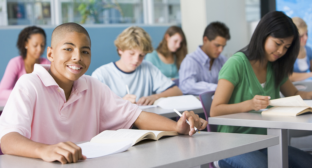 photo of Schoolboy in high school class