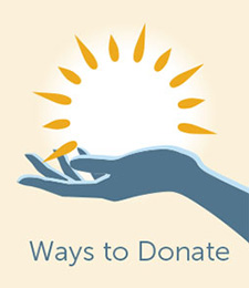 ways to donate graphic of hand with sun