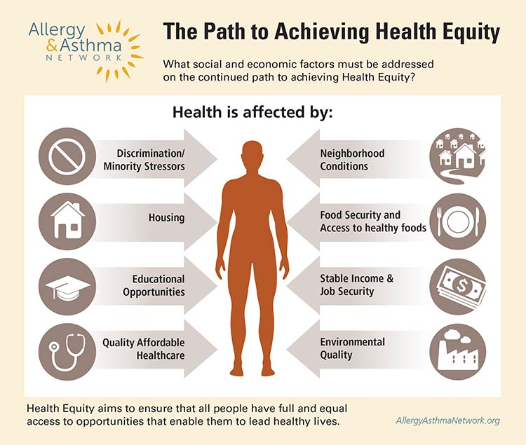 Path to achieving Health Equity infographic