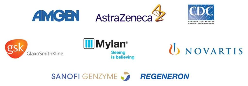 Photos of logos of the Asthma Summits sponsors