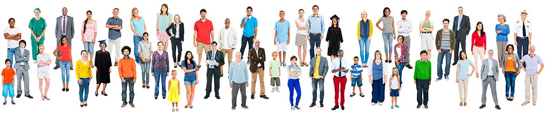 People of various ethnicities and socioeconomic backgrounds