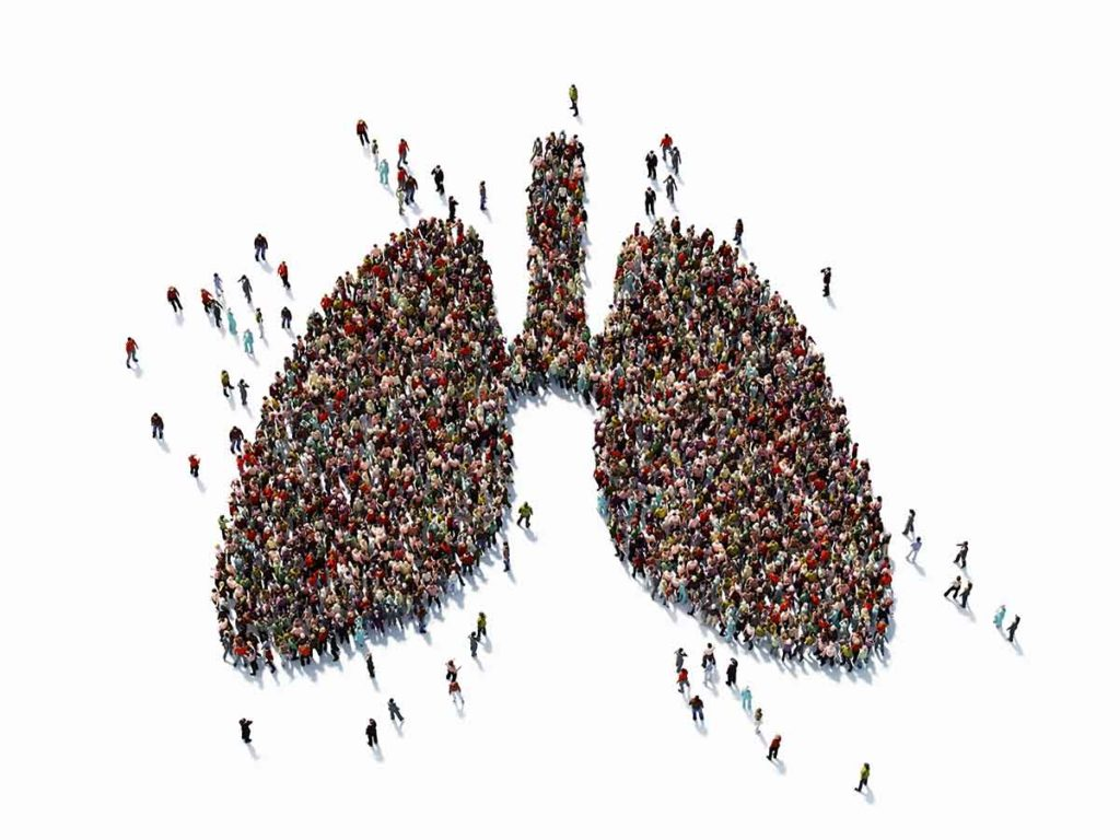 Photo of Human crowd forming a big lung symbol