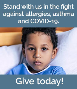 "Image of young boy in hospital bed with the words, ""Stand with us in the fight against allergies, asthma, and Covid-19 - Give Today!"""