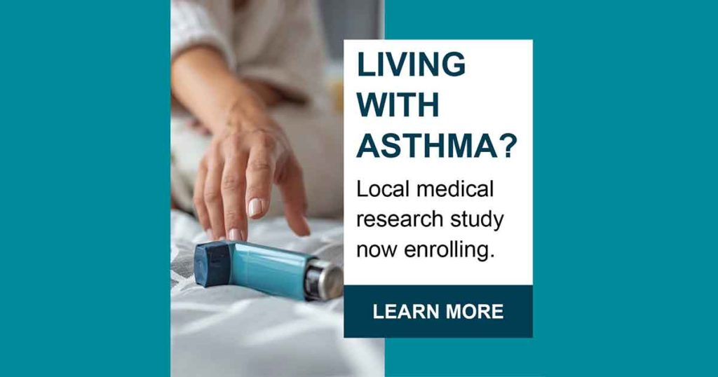 Image for living with asthma survey featuring a hand reaching for an inhaler