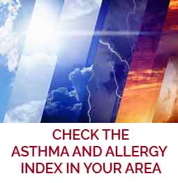 """Icon of """"check the asthma and allergy index in your area"""" prompt to go to the weather page"""
