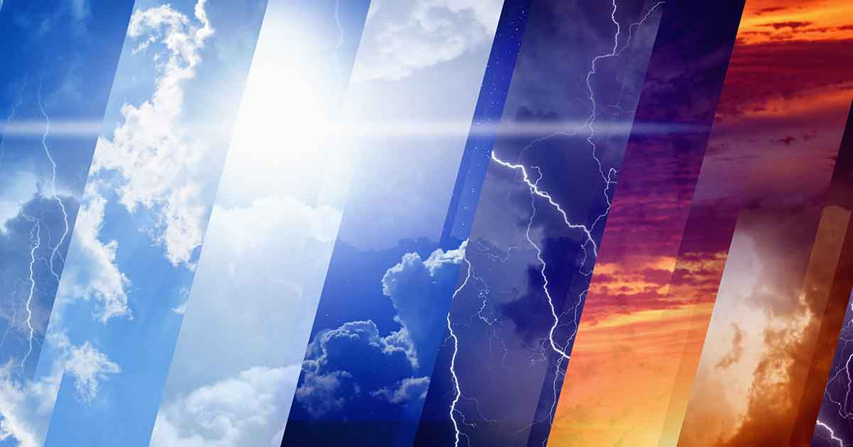 Photo of Weather forecast concept background - variety weather conditions, bright sun and blue sky; dark stormy sky with lightnings; sunset and night