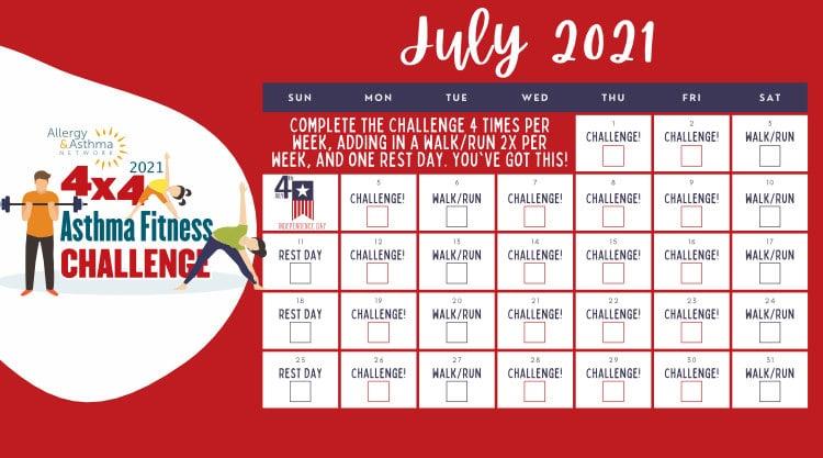 July 4x4 Fitness Challenge 2021 Calendar