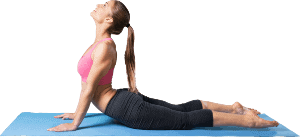 Woman in yoga pose on a mat