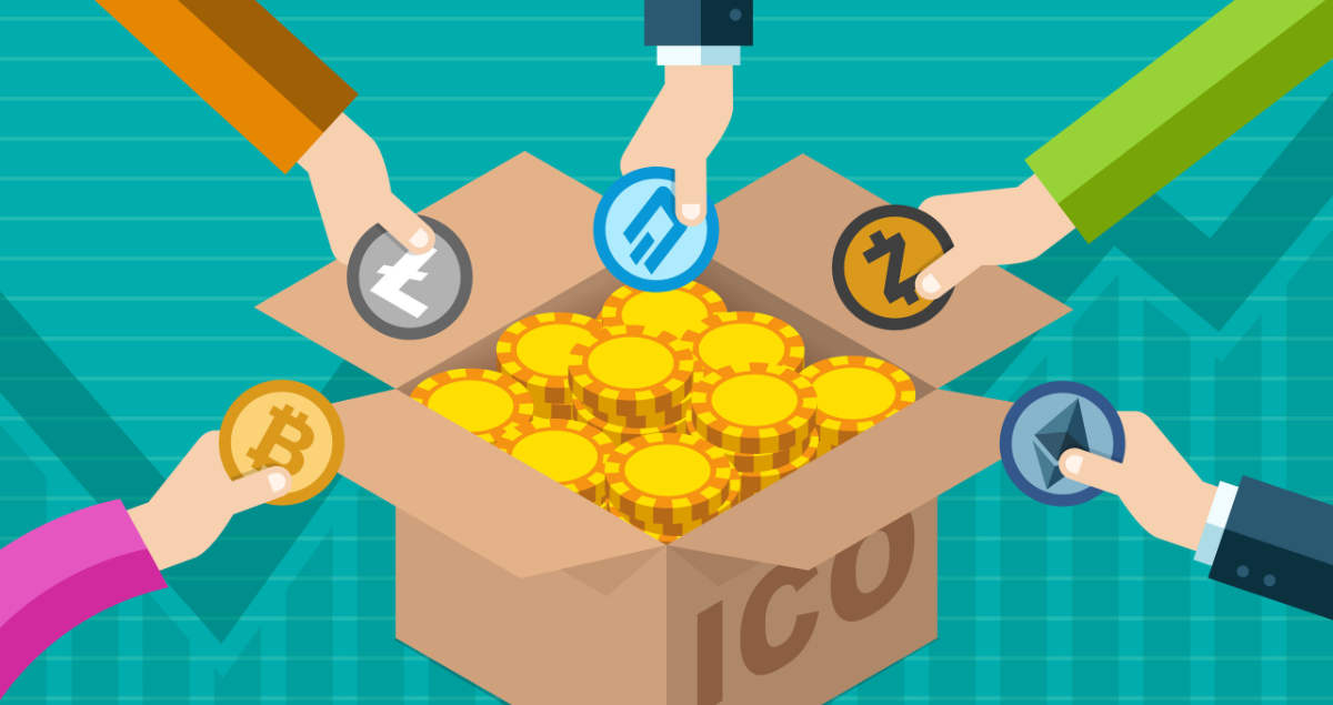 Graphic of various people's arms donating cryptocurrency to a box. The box is labeled ICO for Initial Coin Offering as a take on fundraising with cryptocurrency.
